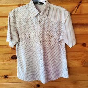 Men's Saxie White w/Red & Blue Western Style Shirt